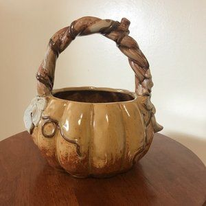 Vintage? Ceramic Shaped Pumpkin Basket